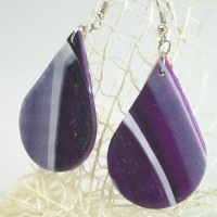 Ръчно изработени обеци капки лилави