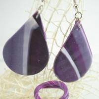 Комплект ръчно изработени обеци капки с пръстен - лилаво и черно
