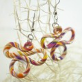 Ръчно изработени обеци Пеперуди бяло оранжево лилаво