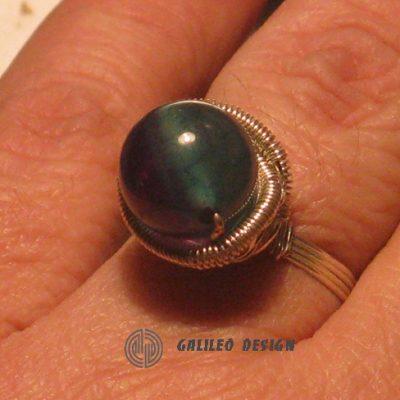 Ръчно изработен пръстен с лилаво зелен Ахат