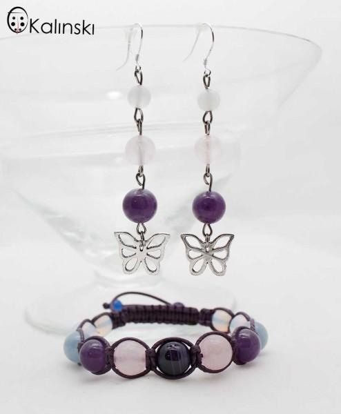 Ръчно изработен комплект от естествени камъни - Розов кварц, Аметист с пеперудки