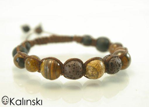 Мъжка гривна Шамбала с Естествени Камъни: Оникс, Тигрово око, Яспис, Вулканична лава