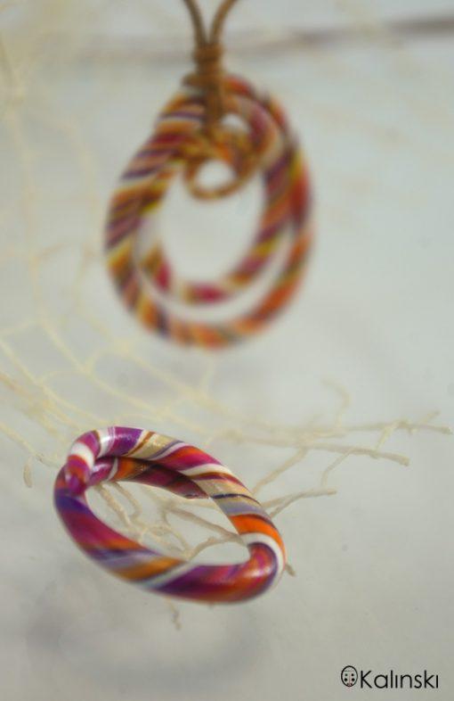 Ръчно изработен пръстен с колие спирала-бяло оранжево лилаво