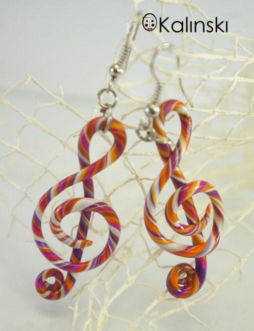Ръчно изработени обеци - сол ключ бяло оранжево лилаво