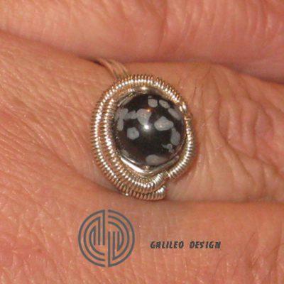 Ръчно изработен пръстен със Снежинков Обсидиан