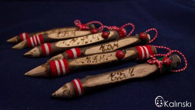 Оригинални ръчно изработени мартеници от молив, гравиран молив ЧБМ, калинка, бял и червен конец