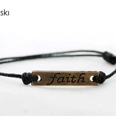 """Дамска гривна черна с надпис """"Faith"""""""