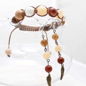 Комплект Шамбала от естествени камъни. Тигрово око, нефрит, авантюрин, бял корал, яспис