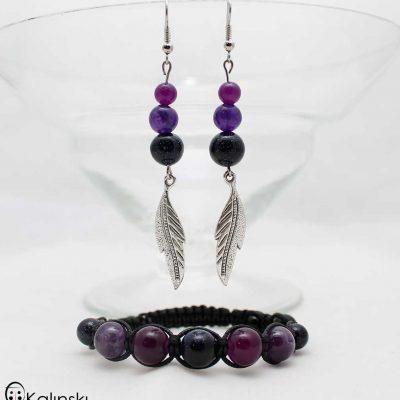"Комплект полускъпоценни камъни ""Purple Haze"" - естествени камъни: Авантюрин, Кварц, Аметсит и Оникс-Вулканична Скала"