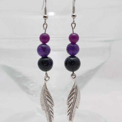 """Обици от полускъпоценни камъни """"Purple Haze"""" - естествени камъни: Авантюрин, Кварц, Аметсит и Оникс-Вулканична Скала"""