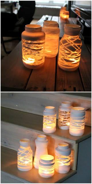 Красиви стъклени свещници от буркани